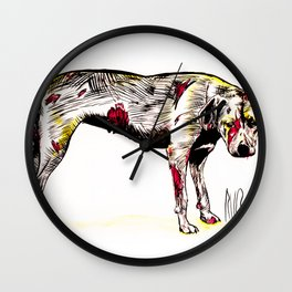 The sadness of streetdogs Wall Clock