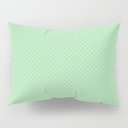 White & Pastel Green Angled Grid Line Pattern Pairs To 2020 Color of the Year Neo Mint 065-80-23 Pillow Sham