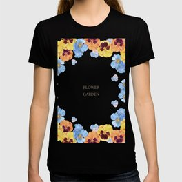 Watercolor illustration of pansy flowers T-shirt