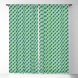 Abstract Geometric Shapes Broken Honeycomb Dark Green, Light Green and Pastel Green Blackout Curtain