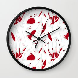 winter floral white Wall Clock