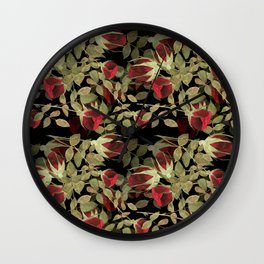Seamless watercolor roses pattern on black Wall Clock