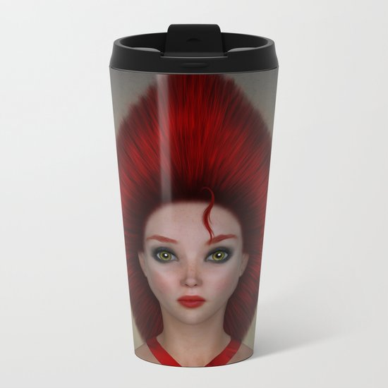 Queen of diamonds portrait Metal Travel Mug