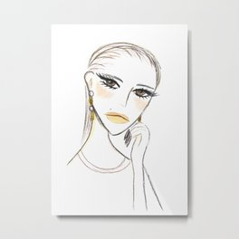 A girl with the foil earrings #2 Metal Print