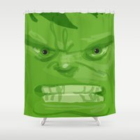 quibe Shower Curtains featuring Post it portrait: The Hulk by quibe