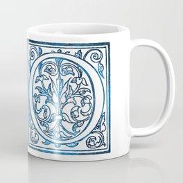 Letter O Antique Floral Letterpress Coffee Mug