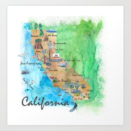 USA California Travel Poster Map With Highlights And Favorites Art Print