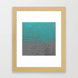 Turquoise and Silver Foil Framed Art Print