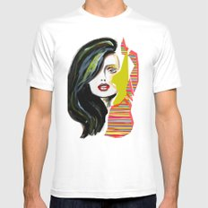 Fashion face woman portrait White MEDIUM Mens Fitted Tee
