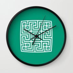 Greek Key emerald Wall Clock