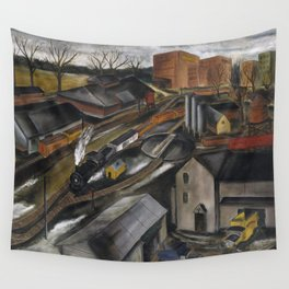 1934 American Masterpiece 'Island Dock Yard' by Karl Fortess Wall Tapestry