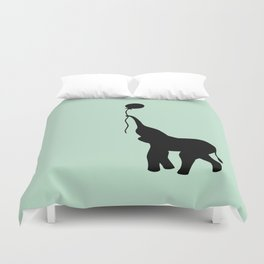 Elephant with Balloon - Mint Duvet Cover