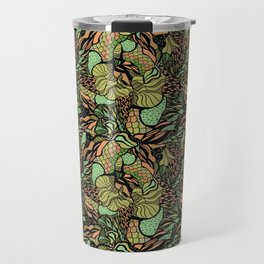 Abstract pattern with scale, waves and plants Travel Mug