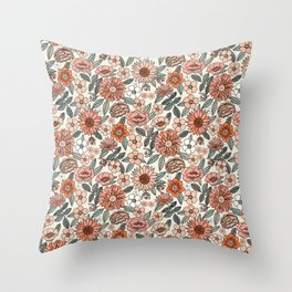 70s flowers - 70s, retro, spring, floral, florals, floral pattern, retro flowers, boho, hippie, earthy, muted Throw Pillow