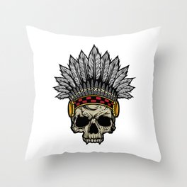 Indian Warrior Skull Is Ready For Battle With His Feathered Headdress And War Paint T-shirt Design Throw Pillow