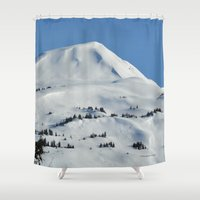skiing Shower Curtains featuring Back-Country Skiing  - VI by Alaskan Momma Bear
