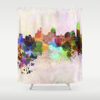 cincinnati Shower Curtains featuring Cincinnati skyline in watercolor background by Paulrommer