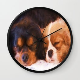 Sleeping Buddies Cavalier King Charles Spaniels Wall Clock