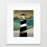 north carolina Framed Art Prints featuring North Carolina by Design for Obama
