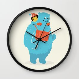 Blue-Monster Piggy-Ride Wall Clock