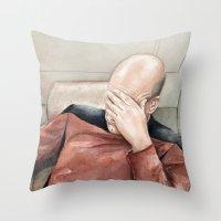 meme Throw Pillows featuring Picard Facepalm Meme by Olechka