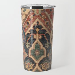 Geometric Leaves I // 18th Century Distressed Red Blue Green Colorful Ornate Accent Rug Pattern Travel Mug