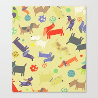 dogs Canvas Prints featuring Dogs by Amy Schimler-Safford