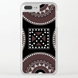 African tribal geometric decor, black, brown, white. Clear iPhone Case