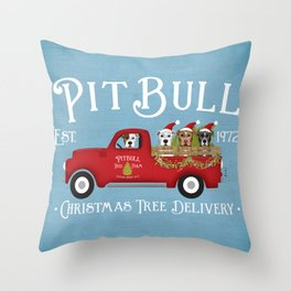 Pitbull Pit Bull Dog Christmas Tree Farm Vintage Red Truck  Throw Pillow