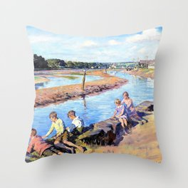 Young anglers at Hayle - Stanhope Alexander Forbes Throw Pillow