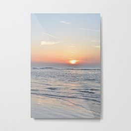 Calm waves at sunset on a dutch beach -- Pastel pink travel Art Print Metal Print