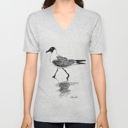 Black and White Seagull Unisex V-Neck
