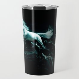 White Horse and The Attack of Wild Wolves Travel Mug