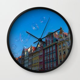 Summer soap bubbles in the city Wall Clock