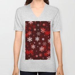 Dark Red Snowflakes Unisex V-Neck