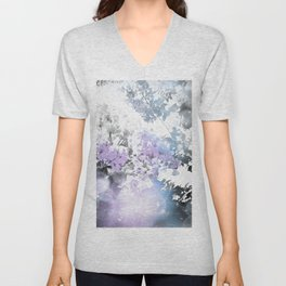 Watercolor Floral Lavender Teal Gray Unisex V-Neck