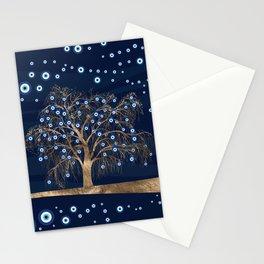 Nazar Charm Tree - Gold on Dark Blue Stationery Cards