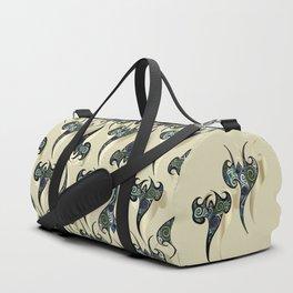 Oriental Tattoos Pattern on white sand Duffle Bag