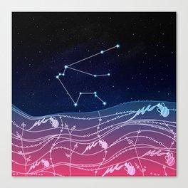 Aquarius Zodiac Constellation Design Canvas Print