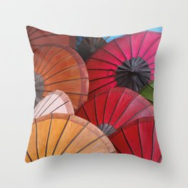 Paper Colored Umbrellas from Laos Throw Pillow