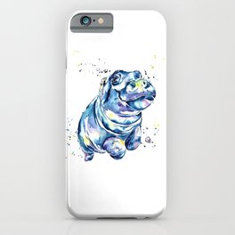 Hippo Colorful Watercolor Hippo Painting - Grace iPhone Case