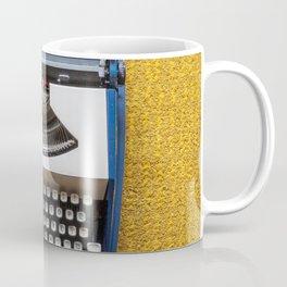 Blue and White Typewriter Coffee Mug