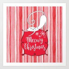 Meowy Christmas Art Print