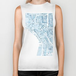 Map Seattle Washington Blueprint watercolor map Biker Tank