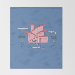 Pink Panther's Modern House Throw Blanket