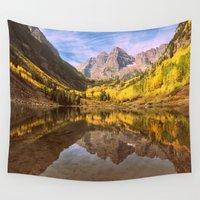 mountains Wall Tapestries featuring mountains. Mirror Lake by 2sweet4words Designs