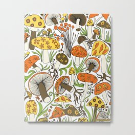 Hand-drawn Mushrooms Metal Print