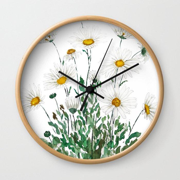 white Margaret daisy watercolor Wall Clock