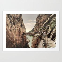"""The most dangerous trail in the world II"". El Caminito del Rey  Art Print"