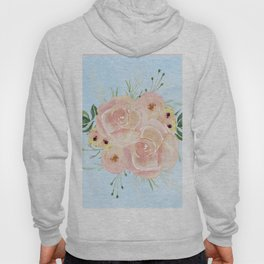Wild Roses on Sky Blue Watercolor Hoody